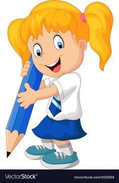 Cartoon school girl holding pencils vector image on VectorStock