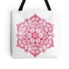 Mandala in red, watercolor #redbubble #tote #bag #mandala #awtercolor #katerinakart