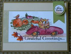 NEW ~ THANKSGIVING GREETINGS FLUFFLES Greeting Card by ME Cat blank inside