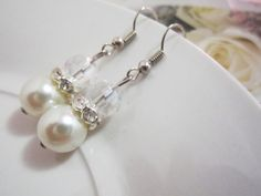 Bridal Jewelry Wedding Pearl Dangle Earrings Ivory by SLDesignsHBJ