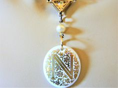 """Assemblage N Initial Monoram Choker Pendant Necklace Vintage Components 14.5"""", OOAK, Repurposed, Retro Costume Jewelry by DecoOwl on Etsy"""