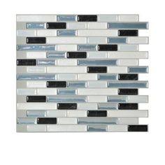 Smart TilesMuretto Brina 10.20 in. x 9.10 in. Self-Adhesive Decorative Wall Tile Backsplash in Blue, White