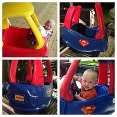 Little Tikes car makeover. Batman/superman/elmo