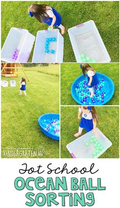 Get moving with this ocean ball sorting gross motor activity. Perfect for an ocean theme in tot school, preschool, or the kindergarten classroom.