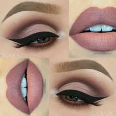 Beautiful Makeup ideas with a nude lip and matte eyeshadow. Love how sharp that winged liner and eyebrow is! #Makeup #Maquillaje #NudeLips