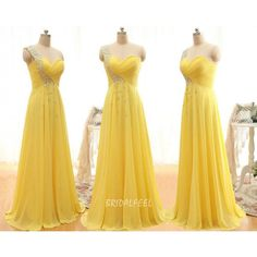 Bright Yellow Beaded One Shoulder Unique Bridesmaid Dress Wedding Dresses