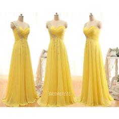 Bright Yellow One Shoulder Bridesmaid Dress