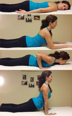 Extension exercises can help lower back pain caused by too much bending, however always seek the help of a trusted health professional. No one exercise is right for all the different causes of back pain. Body Fitness, Fitness Diet, Fitness Motivation, Health Fitness, Fitness Quotes, Physical Fitness, Hata Yoga, Back Exercises, Posture Exercises