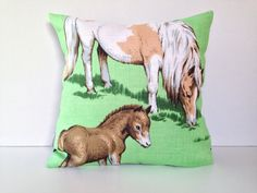 Cushion Covers – Horse cushion cover Pony and Foal Linen pillow – a unique product by DeckyPop on DaWanda