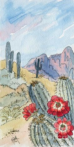 Desert Scene One Ink And Watercolor Painting by Marilyn Smith Desert Scene One Watercolor Drawing, Watercolor Illustration, Painting & Drawing, Watercolor Paintings, Simple Watercolor, Watercolor Trees, Watercolor Animals, Watercolor Techniques, Watercolor Background