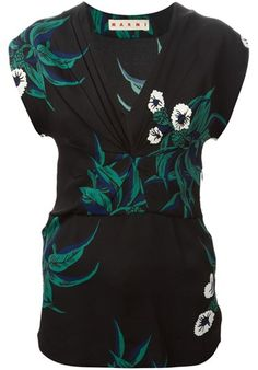 Black and blue floral print top from Marni featuring a v-neck, draped details, a fitted waist and short sleeves.