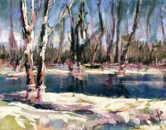 Late Winter Waterway - Original Fine Art By Ginny Stocker