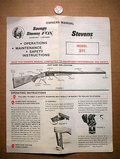 Vintage Original SAVAGE/STEVENS MODEL 311 Shotgun OWNER'S MANUAL. - http://sports.goshoppins.com/hunting-equipment/vintage-original-savagestevens-model-311-shotgun-owners-manual/