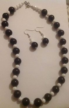 Necklace Earrings 12mm Jet Black Glass Pearl 6mm White Faceted Acrylic Handmade  | eBay