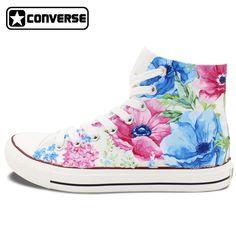 Converse All Star Zapatos Pintados A Mano de La Naturaleza colorida Flor Floral Diseño Original Personalizado Hombres de Las Mujeres Zapatillas de Deporte