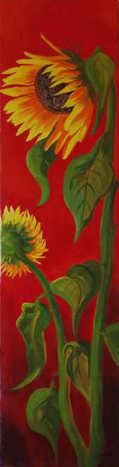 Huge sunflowers on red background acrylic on canvas