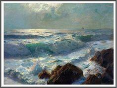 Julius Olsson (1864-1942), Sea and Rocks, Moonlight.