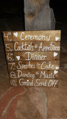 Rustic wedding sign, event timeline