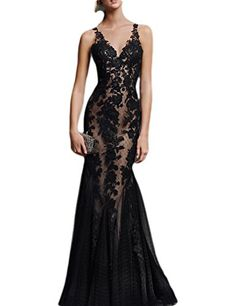 OYISHA Womens 2017 Long Lace Evening Dresses Mermaid Formal Party Gowns EV112 Black 10 >>> ** AMAZON BEST BUY **