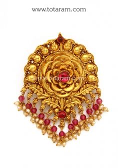 22K Gold Pendant (Temple Jewellery): Totaram Jewelers: Buy Indian Gold jewelry & 18K Diamond jewelry Gold Jewelry Simple, Gold Rings Jewelry, Gold Jewellery Design, Gold Bangles, Pendant Jewelry, Bridal Jewelry, Diamond Jewelry, Antique Jewelry, India Jewelry