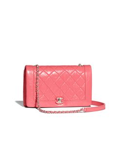Chanel - FLAP BAG - CRUMPLED CALFSKIN, RESIN & SILVER-TONE METAL - PINK - $3,300