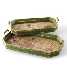 Inspired by impressionist gardens, these wood-handled Monet's Garden Trays offer vintage-style floral imagery and charming rustic details that would definitely fit with the decor of our fairy castle.