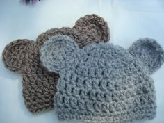 Twin Boy Bear Hats Ready to Ship by ValariesCrochet on Etsy
