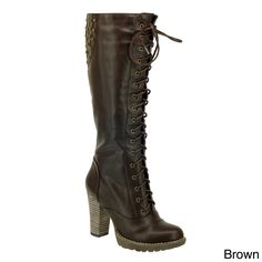 DimeCity Women's 'Darla' Lace-up Riding Boots
