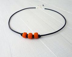 Orange bead leather necklace glass pony beads black by tline