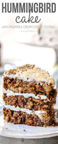 the BEST crazy tender Hummingbird Cake (banana pineapple cake) bursting with toasted pecans and coconut and enveloped in PINEAPPLE cream cheese frosting! This is a MUST MAKE recipe everyone goes crazy for! via carlsbadcraving Hummingbird Cake Recipes, Hummingbird Food, Hummingbird Cake Recipe With Coconut, Pear And Almond Cake, Almond Cakes, Cupcakes, Cupcake Cakes, Coconut Pineapple Cake, Pineapple Dessert Recipes