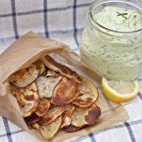Homemade Potato Chips and Avocado Ranch Dip by Karin