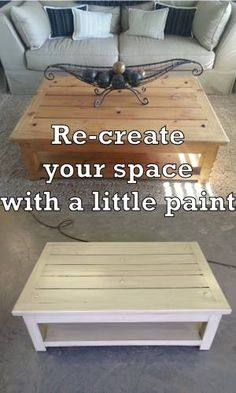 I DID EXACTLY THIS!   My coffee table looks just like this except it has 3 baskets underneath.  Re-do Coffee Table  See more before and afters on this site!