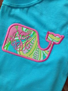 Monogrammed Lilly Pulitzer Whale Applique T-shirt by tinytulip