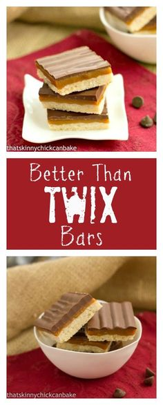 Twix Bars   A shortbread crust, caramel filling and chocolate glaze make for a homemade version of your favorite candy bar! From thatskinnychickcanbake.com @lizzydo