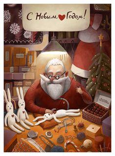 Some Xmas art. Cardiomedix by Oksana Grivina, via Behance Christmas Poster, Christmas Mood, A Christmas Story, Merry Christmas And Happy New Year, New Year Illustration, Christmas Illustration, Cute Illustration, Christmas Greeting Cards, Christmas Greetings
