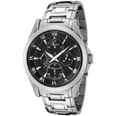 Seiko Men's SRL023 Premier Black Dial Stainless Steel Watch Seiko. $249.00. Black dial with silver-tone hands, roman numerals and hour markers. 60 second, 24 hour, day and date subdials. Water-resistant to 330 feet (100 M). Scratch-resistant sapphire crystal; brushed and polished stainless steel case and bracelet. Precise Japanese-quartz movement
