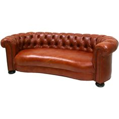 1950's Sofa Reupholstered in Genuine Leather | From a unique collection of antique and modern sofas at https://www.1stdibs.com/furniture/seating/sofas/