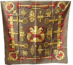 Authentic Hermes Ferronnerie Silk Scarf In Olive