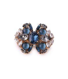 Broche en forma de mariposa azul en cristal