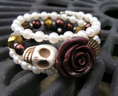 Day of the dead Bracelet Wrap Around Brown Rose by shabbyskull, $25.00