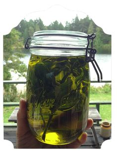 homemade basil-infused olive oil.