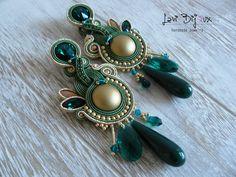 Green Soutache Earrings Handmade Earrings Hand Embroidered