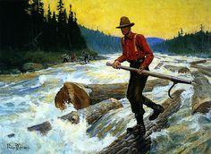 Philip R Goodwin The Log Rider Rustic Grey Framed Giclee Canvas Art M 32x25 | eBay