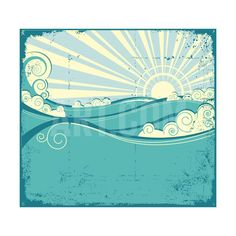 Sea Waves. Vintage Illustration Of Sea Landscape Art Print by GeraKTV at Art.com