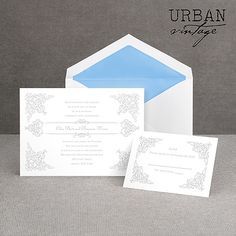 elegant, classic, thermography wedding invitation I vintage vision I less than $70 for 100!