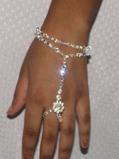 Dazzling Swarovski Bridal Slave Bracelet Bridal Jewelry Rhinestone Swarovski Bracelet Wedding Hand Jewelry Beach Wedding Bangle on Etsy, $52.00