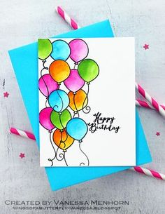 Lawn Fawn Watercolor Balloons Birthday card by Vanessa Menhorn.