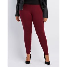 Charlotte Russe Stretch Cotton Leggings (125 ARS) ❤ liked on Polyvore featuring plus size women's fashion, plus size clothing, plus size pants, plus size leggings, burgundy, low rise leggings, charlotte russe leggings and cotton stretch pants