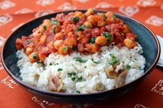 Middle East Comfort in a Bowl: Tomato Chickpeas Over Dried Fig-Infused Rice