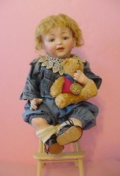 Old antique bisque head composition German JDK Kestner character baby Doll